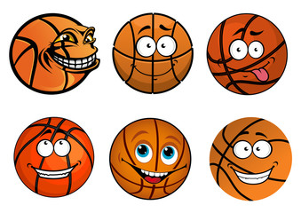 Cartoon happy traditional shaped basketball balls characters