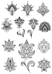 Paisley design elements with outline indian ornaments