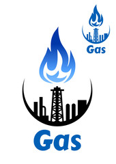 Gas processing factory icon or emblem