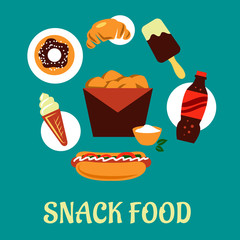 Snacks set with fast food elements