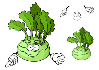 Cartoon smiling ripe kohlrabi vegetable cartoon character