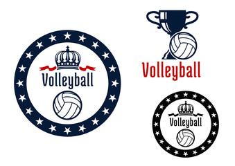 Volleyball sport game heraldic emblems