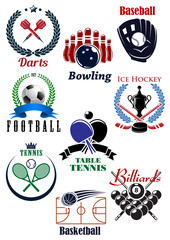Sporting competition emblems with heraldic design elements
