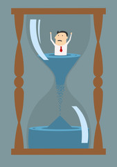 Cartoon businessman drowning in time