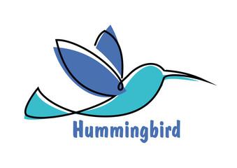 Blue soaring hummingbird or colibri symbol