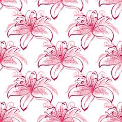 Pink and purple lilies seamless pattern