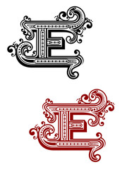 Retro capital alphabet letter E