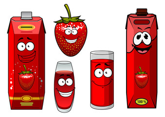 Strawberry juice bright red packs and berry cartoon characters