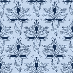 Airy lace indian blue floral seamless pattern