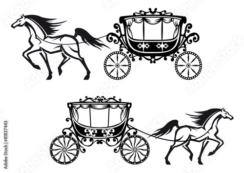 Antique decorated carriages with horses - 81837443