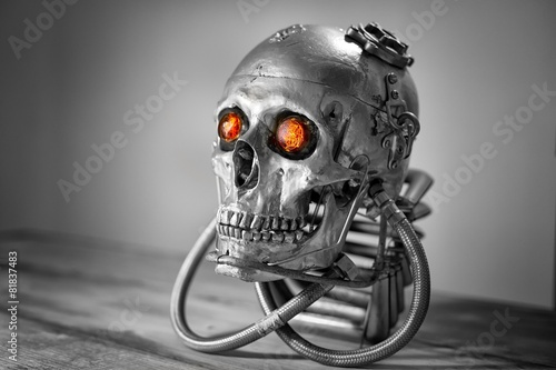 Poster Begraafplaats Skull of a human size robot