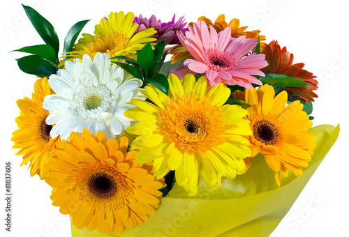 Papiers peints Gerbera Bouquet of flowers in yellow package