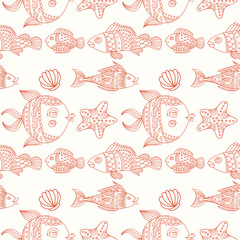 Fish vector seamless pattern