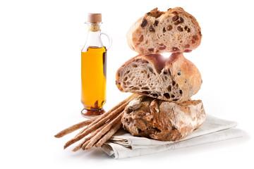 Breadsticks and raisin bread, olive bread, and walnut bread