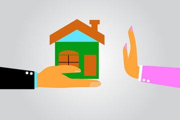 woman Hand - Refuse House From Other Hand