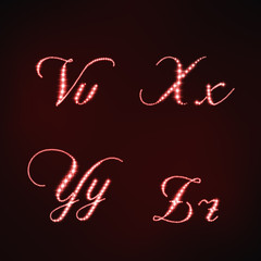 Illustration of red stars style of letters VXYZ
