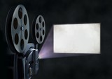 Movie projector and blank screen - 81839013