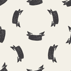 banner doodle seamless pattern background