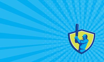 Business card Cricket Player Batsman Batting Shield Retro