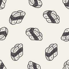 sushi doodle seamless pattern background