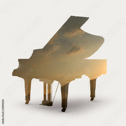 piano silhouette with sunset - 81841246
