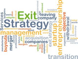 Exit strategy wordcloud concept illustration