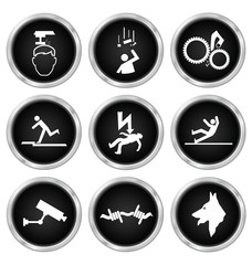 Black security and safety related icons