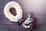 beautiful Thai garland flowers (jasmine and roses), use for Song