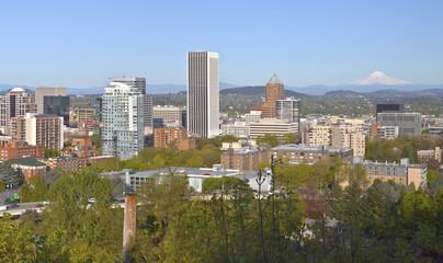 Portland city buildings panorama Oregon and Mt. Hood.