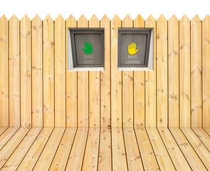 plancher et palissade bois tri sélectif
