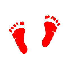 two small red soles of children's imprint on a white background
