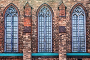 brick facade of the old Catholic church