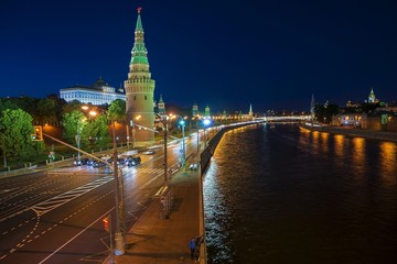View of the Moscow Kremlin and Moskva River at night. Shot from