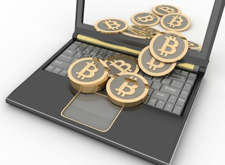 Bitcoins with laptop computer. 3d illustration on white