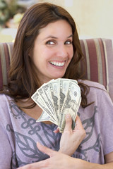 Beautiful Woman with Cash