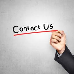 Man Writing Contact Us Text