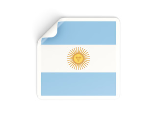 Square sticker with flag of argentina
