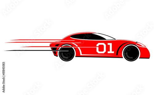 Fotobehang F1 Speeding race car vector image