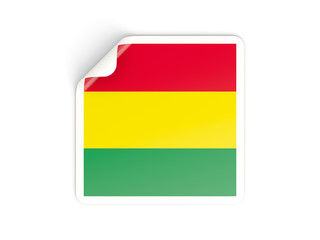 Square sticker with flag of bolivia