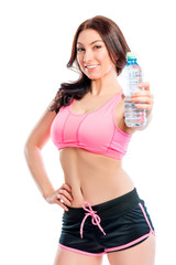 athlete with water bottle on a white background