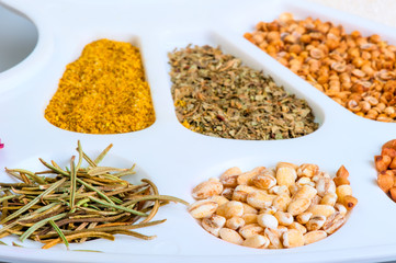 colorful spices are in the palette closeup