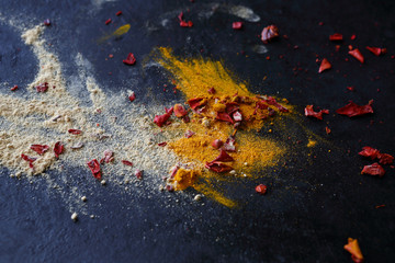 Turmeric, ginger and paprika on a dark background