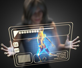 woman and hologram with soccer