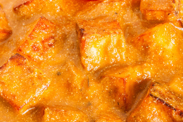 Indian Paneer Butter Masala Overhead Closeup