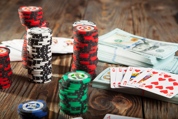 Chips, cards and money poker