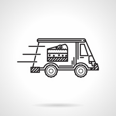 Black line vector icon for food delivery