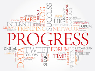 Progress word cloud, business concept