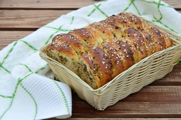 Homemade bread with spices and sesame seeds