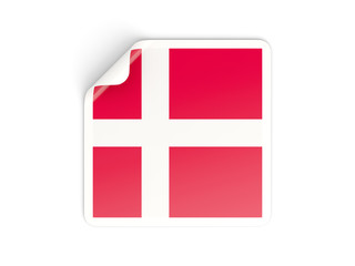 Square sticker with flag of denmark