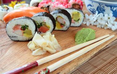 Fresh sushi rolls for dinner